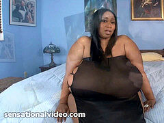 Ebony plus-size Cotton Candi tears up enormous White Cock
