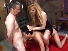 Blonde Dominatrix & A couple of Bisexual Slaves