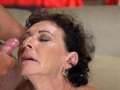 Bigtitted granny jizzed on