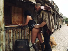 Horny cowboy is fucking amazing brunette on the street