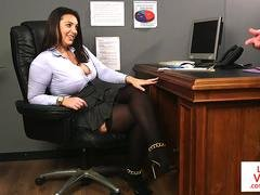 Euro office babe punishes sub guy with CFNM