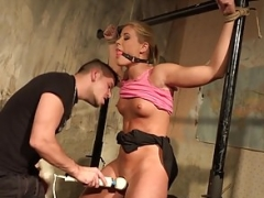 Hot blonde kitten given a vibrator orgasm in submission