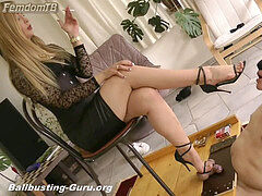domme steping on his nut for fun