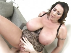Mommy with extremely large breasts takes large cock