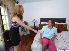 MILF punished her stepson for sneaking on their maid