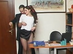 Secretary penetrated in pantyhose