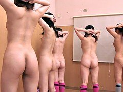 Five naked babes show off their good perfect bodies