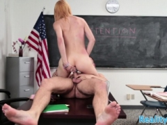 Young and fresh schoolgirl rubs her clit while fucking