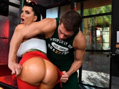 Athletic brunette Romi Rain gets her tight crack fucked by a big dick