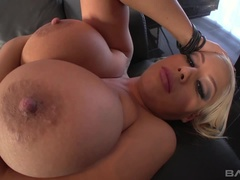 Bridgette B lets him cum on her face and tits after anal
