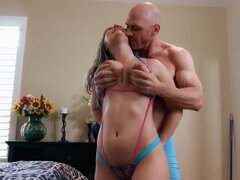 Bald headed guy gets naked with his girlfriend and cums hard