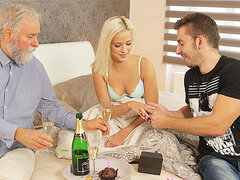 DADDY4K. Beautiful blond hair girl embarks morning coitus with...