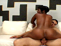 Ebony with humungous globes sucks and titty fucks successful white guy