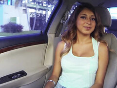 Mexican babe Sarai gives head & fucks a random dude in his car