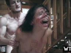 Tortured babe gets fucked by a crazed psycho