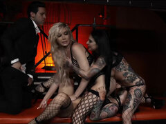 Aubrey Kate, Joanna Angel and Katrina Jade sex dungeon orgy