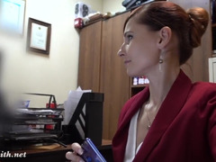 Skinny office MILF exposes her fun parts