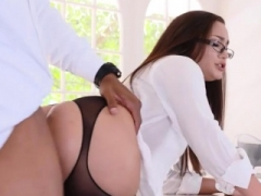 Huge boobs female with glasses anal rammed by black man