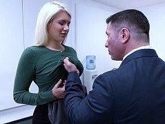Submissive blonde secretary