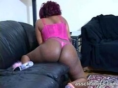 Chunky ebony dominatrix shows off her fat buttocks and moreover bounces it quite enough for you to be teased to lick and moreover eat