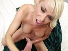 Sexually available mom tugging cock after stripping down