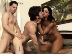 Incredible threesome action with a busty starlet