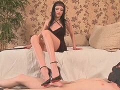 Russian girl wax torture man slave's dick