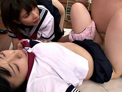 Lascivious young and fresh japanese schoolgirls sharing penis