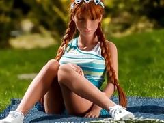 Redhead realistic sex doll, anal creampie oral sex fantasies