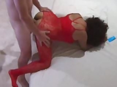 My wife with a Red Bodysuit