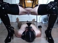 Rubber slut - taking a leak & banging - part 3-6