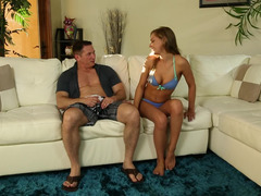 Super hot porn party with three cock hungry babes on the couch