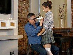 russian  flattie school girl make love hot