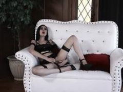 Goth girl Marley enjoys a duo phallus inside her tight ass and besides pussy