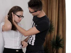 Virginal looking teenage in glasses turns to a actual whore
