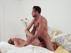 A sizeable dude is penetrating a hot blonde with a tiny frame
