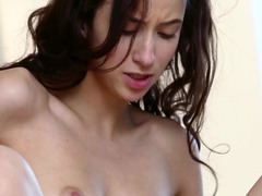A sexy lady friend with a lovely body is riding a hard fuck pole