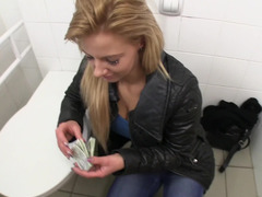 Gal has her rectal hole fucked for a duo bucks in the toilet