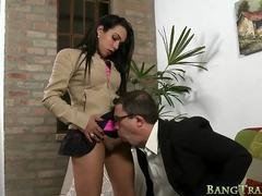 Sultry bigtitted shemale gets her asshole fucked by doctor