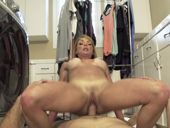 Handsome stepson is ready to get down and dirty his blonde stepmom so damn hard