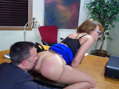 Brunette that has a fine tush is getting fucked by her coworkers