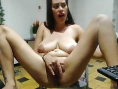 Hot Latina milks her saggy titties