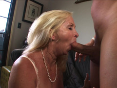 A blonde granny likes to taste sizeable hard dick in her wet love hole