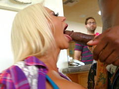 A huge black dude is fucking a hot eager mom in front of her boyfriend