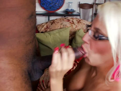 Gal in glasses goes crazy giving bj and moreover fucking huge black cock