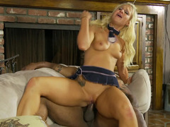 Hot blonde that loves to ride flag poles is having interracial sex