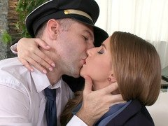 A lad removes his uniform fuck a hot stewardess in living room