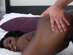 Alluring ebony queen gets fucked and besides facialized by a white dude