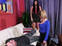 CFNM eurobabes giving head and moreover jerking hard purple rod