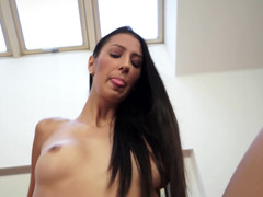 Tall floozy that loves fuck tool is getting her pussy around a thick one
